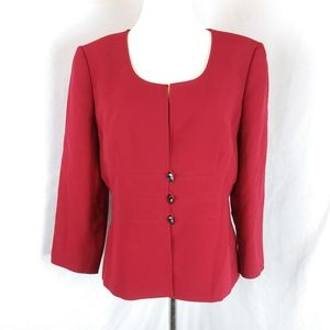 Tahari Red form fitted career blazer dress jacket